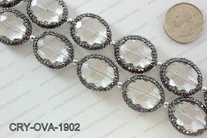 Oval clear crystal with Gunmetal Rhinestone bezel 19x24mmCRY-OVA