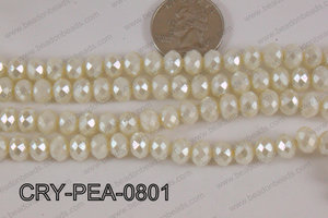 Rondelle Crystal with Pearl Coating Cream 8mm CRY-PEA-0801