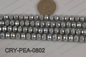 Rondelle Crystal with Pearl Coating Silver 8mm CRY-PEA-0802