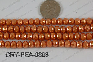Rondelle Crystal with Pearl Coating Orange 8mm CRY-PEA-0803