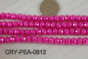 Rondelle Crystal with Pearl Coating Hot Pink 8mm CRY-PEA-0812