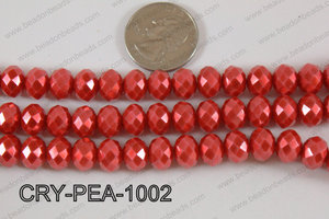 Rondelle Crystal with Pearl Coating Red 10mm CRY-PEA-1002
