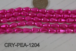 Teardrop Crystal with Pearl Coating Faceted Hot Pink 8x12mm CRY-