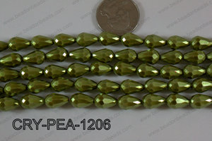 Teardrop Crystal with Pearl Coating Faceted Green 8x12mm CRY-PEA