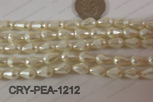 Teardrop Crystal with Pearl Coating Faceted Cream 8x12mm CRY-PEA
