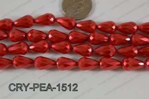 Teardrop Crystal with Pearl Coating Faceted Red 10x15mm CRY-PEA-