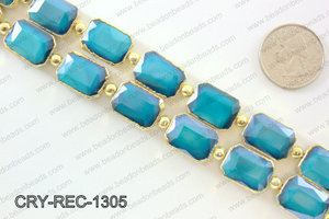 Rectangle blue crystal with Gold bezel 13x18mmCRY-REC-1305