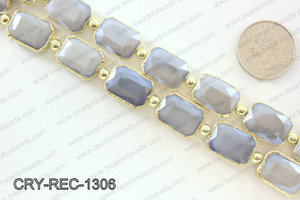 Rectangle grey crystal with Gold bezel 13x18mmCRY-REC-1306