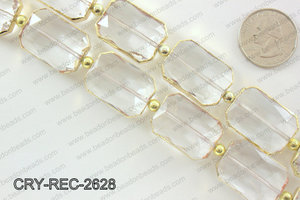 Rectangle clear crystal with Gold bezel 18x26mmCRY-REC-2628