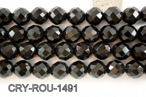 Angelic Crystal Faceted Round 14mm 48Cut Black 14'' CRY-ROU-1491