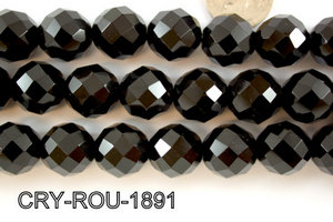 Angelic Crystal Faceted Round 18mm 48Cut Black 14'' CRY-ROU-1891