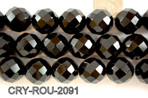 Angelic Crystal Faceted Round 20mm 48Cut Black 14'' CRY-ROU-2091