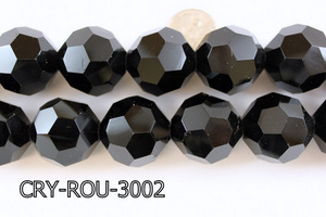 Angelic Crystal Faceted Round 30mm Black 14'' CRY-ROU-3002
