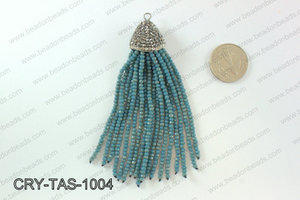 Crystal tassels with rhinestone cap 20x100mm CRY-TAS-1004