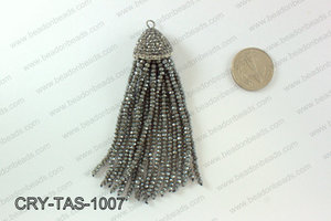 Crystal tassels with rhinestone cap 20x100mm CRY-TAS-1007