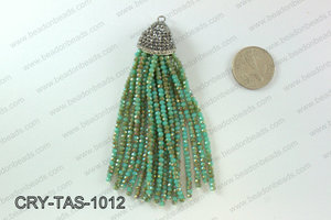 Crystal tassels with rhinestone cap 20x100mm CRY-TAS-1012