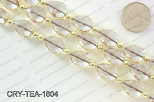 Teardrop clear crystal with Gold bezel 13x18mmCRY-TEA-1804