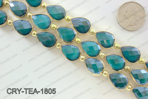 Teardrop blue crystal with Gold bezel 13x18mmCRY-TEA-1805