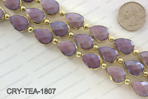Teardrop purple crystal with Gold bezel 13x18mmCRY-TEA-1807