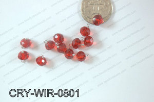 Wired Crystal Rondel 8mm Red CRY-WIR-0801