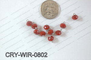 Wired Crystal Rondel 8mm Red Opague CRY-WIR-0802