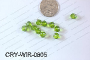 Wired Crystal Rondel 8mm Green CRY-WIR-0805