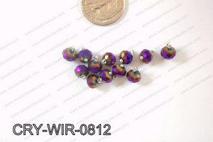 Wired Crystal Rondel 8mm Purple Metallic CRY-WIR-0812