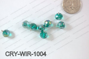 Wired Crystal Rondel 10mm Green AB CRY-WIR-1004