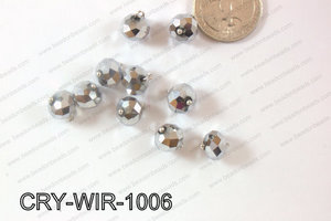 Wired Crystal Rondel 10mm Silver CRY-WIR-1006