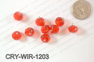 Wired Crystal Rondel 12mm Red CRY-WIR-1203
