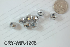 Wired Crystal Rondel 12mm Silver CRY-WIR-1205