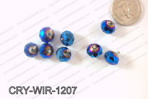 Wired Crystal Rondel 12mm Metallic Blue CRY-WIR-1207