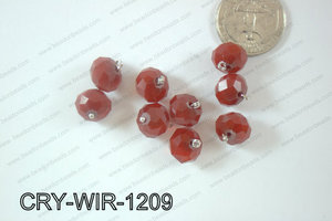 Wired Crystal Rondel 12mm Red Opague CRY-WIR-1209