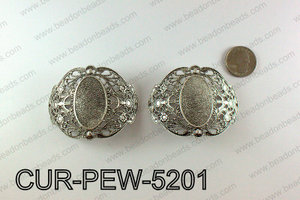 Curved pewter connector 52x66mm, Silver CUR-PEW-5201