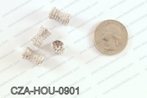 CZ  Micro Pave Hour Glass Sahpe Beads9x11 MM CZA-HOU-0901