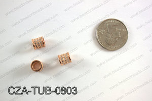 CZ TUBE MICRO PAVE BEAD 8X8MM CZA-TUB-0803