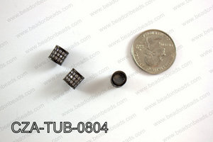 CZ TUBE MICRO PAVE BEAD 8X8MM CZA-TUB-0804