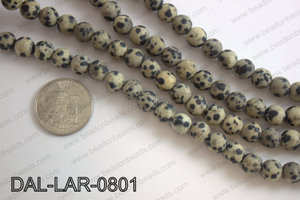 Large hole dalmation jasper matte round 8mm DAL-LAR-0801