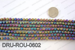 Metallic coated druzy beads 6mmDRU-ROU-0602