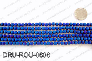 Metallic coated druzy beads 6mmDRU-ROU-0606