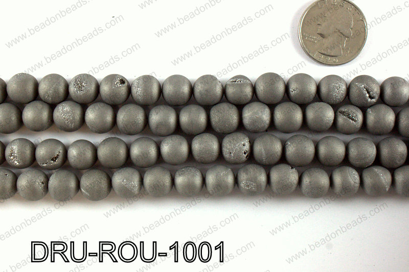 Metallic coated druzy beads 10mm DRU-ROU-1001