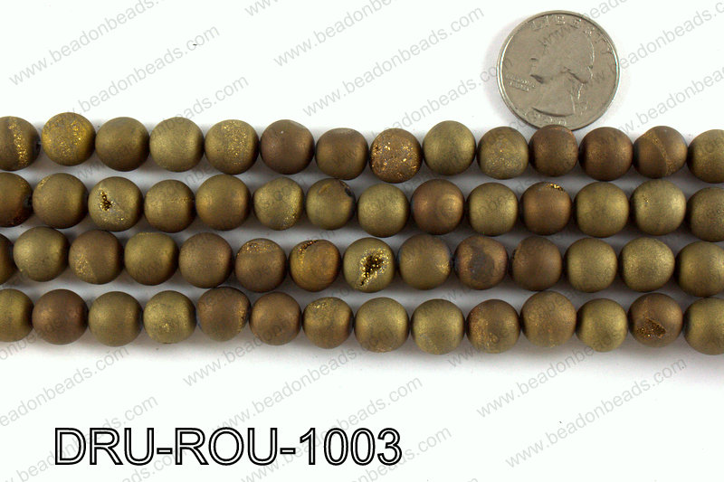 Metallic coated druzy beads 10mm DRU-ROU-1003