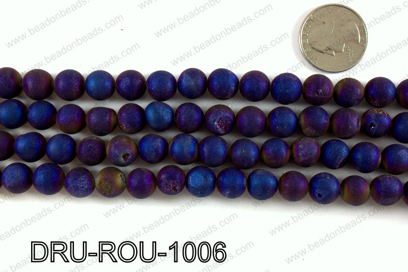 Metallic coated druzy beads 10mm DRU-ROU-1006