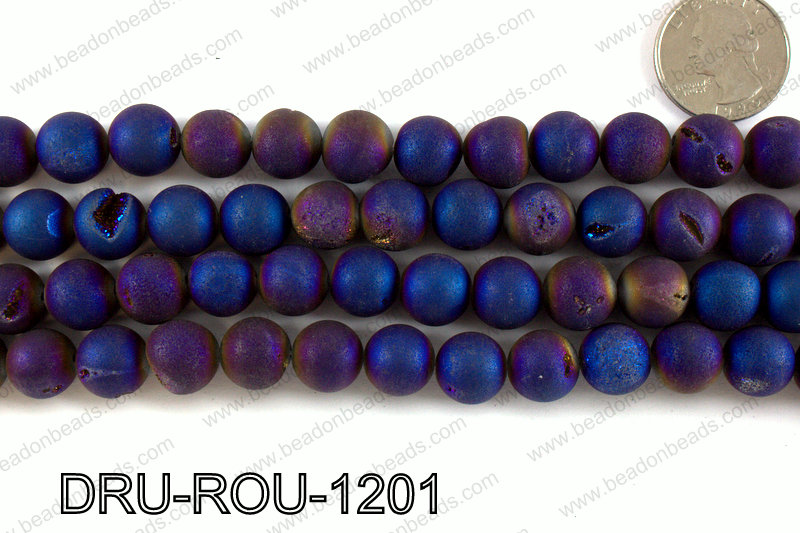 Metallic coated druzy beads 12mm DRU-ROU-1201
