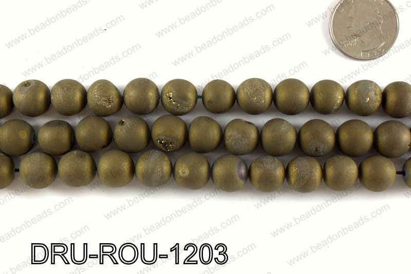 Metallic coated druzy beads 12mm DRU-ROU-1203
