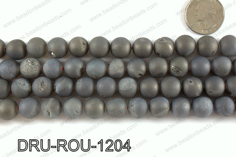 Metallic coated druzy beads 12mm DRU-ROU-1204