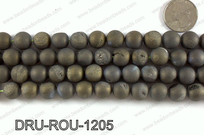 Metallic coated druzy beads 12mm DRU-ROU-1205