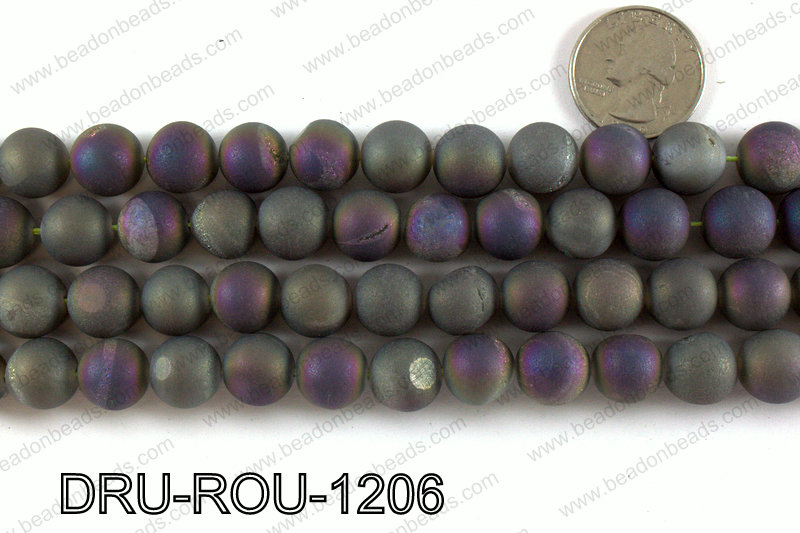 Metallic coated druzy beads 12mm DRU-ROU-1206
