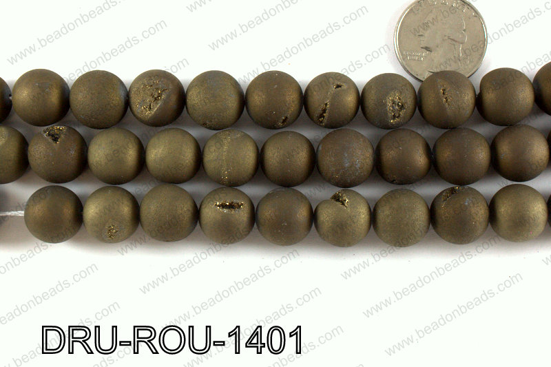 Metallic coated druzy beads 14mm DRU-ROU-1401