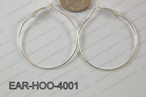 Hoop Earring 1.2mm thick x 40mm Silver EAR-HOO-4001